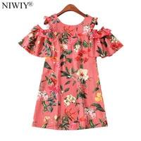 NIWIY Brand Summer Flower Printed Striped Dress Jurken 2017 Zomer Dames Clothes Women Strapless Sexy Dress