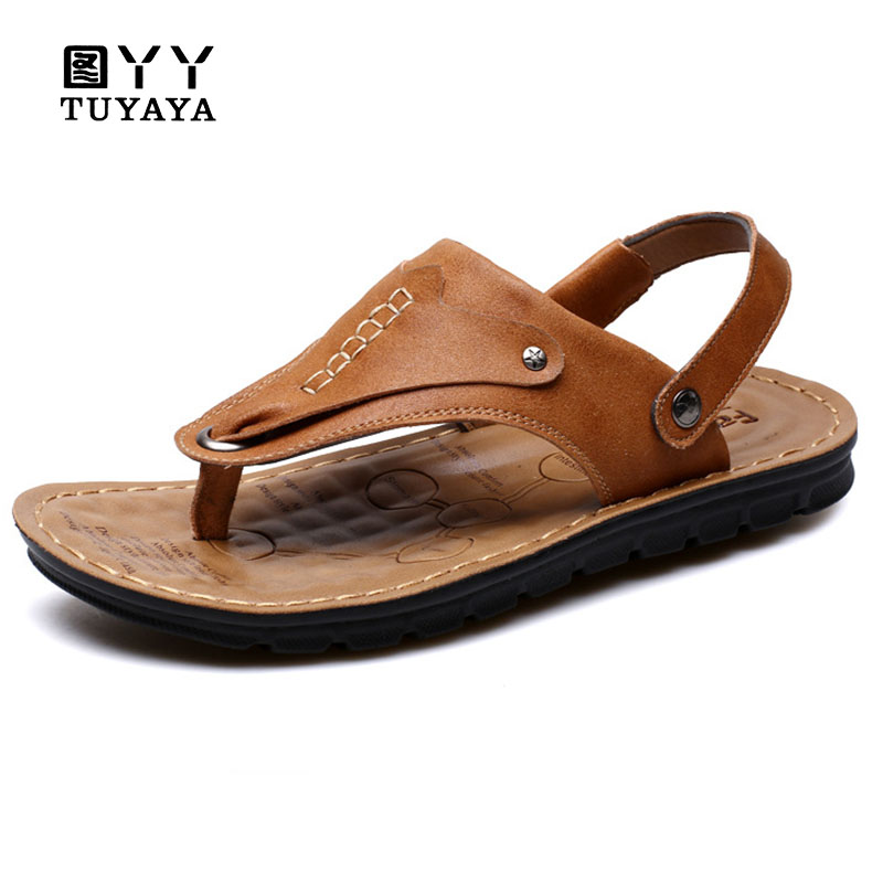 2018 Hand Sewing Beach Shoes Men Sandals Outdoor Male Genuine Leather Shoes Summer Men Slippers Breathable Sandalias