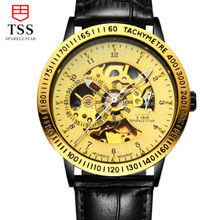 2016 Luxury tss gold watch men skeleton Stainless steel Automatic mechanical Sapphire glass waterproof watch relogio