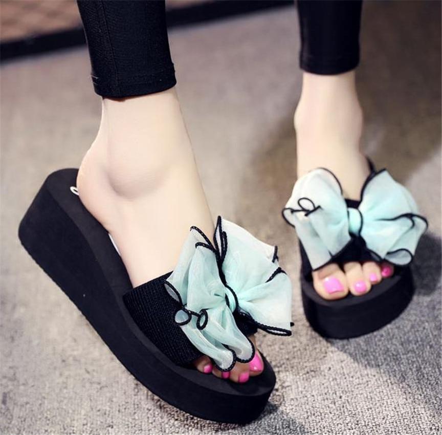 bc1212fd2 Top.Damet Women Summer Platform Flip Flops Bow-tie Slippers Beach Shoes  Holiday Beach Wedges Flip Flop Cute Slipper Footwear