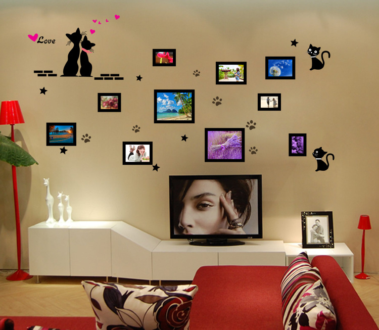 Cute Cat Fashion Wall Stickers Funny Cat Stickers Living Room Decor Tv Wall Decor Child Kids