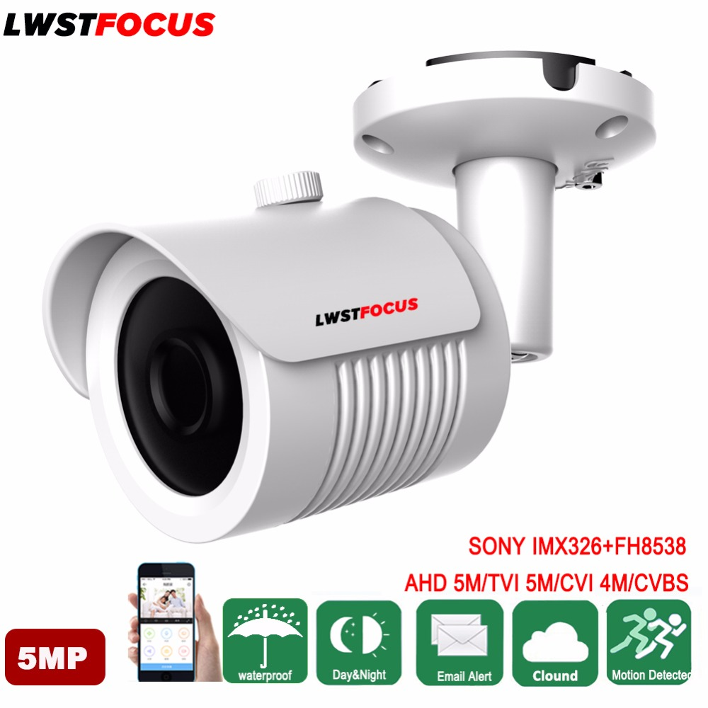LWSTFOCUS SONY IMX326 5MP AHD/ 5MP TVI/ 4MP CVI HD Camera Waterproof IR Bullet Camera Surveillance Camera Outdoor Camera IR Cut 5mp tvi 4mp ahd cvi imx326 cmos security camera 4in1 surveillance cameras ir cut dnr utc osd varifocal lens smd ir leds