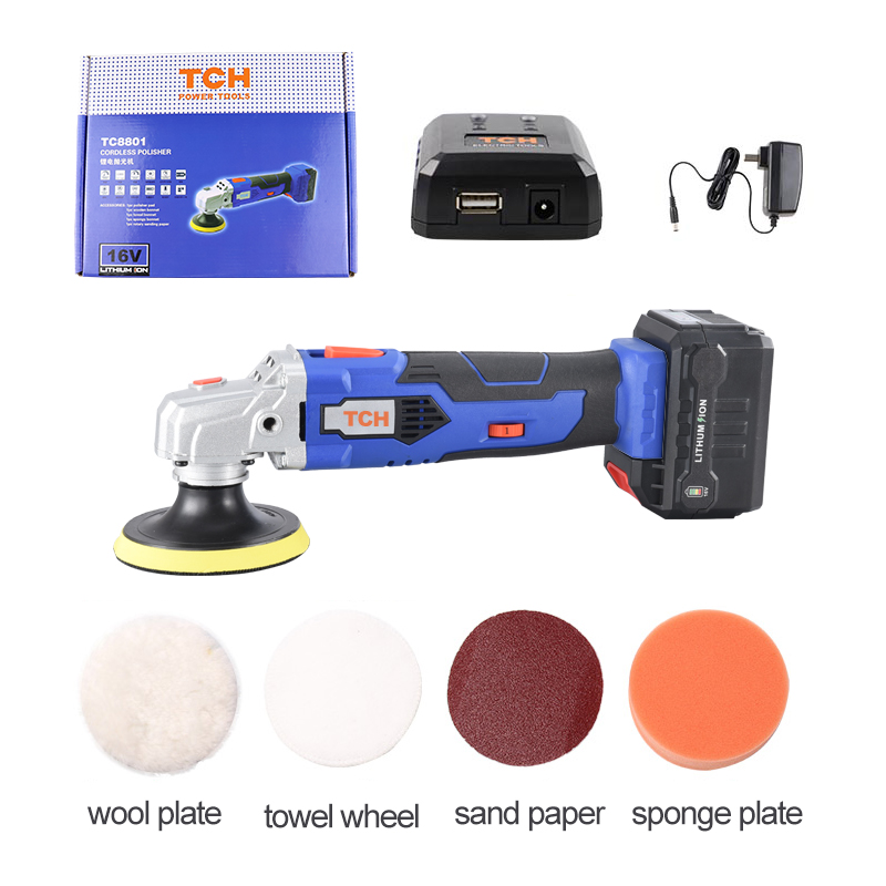 TCH waxing machine with 16V lithium battery portable cordless car polisher cleaner adjustable speed polishing machine