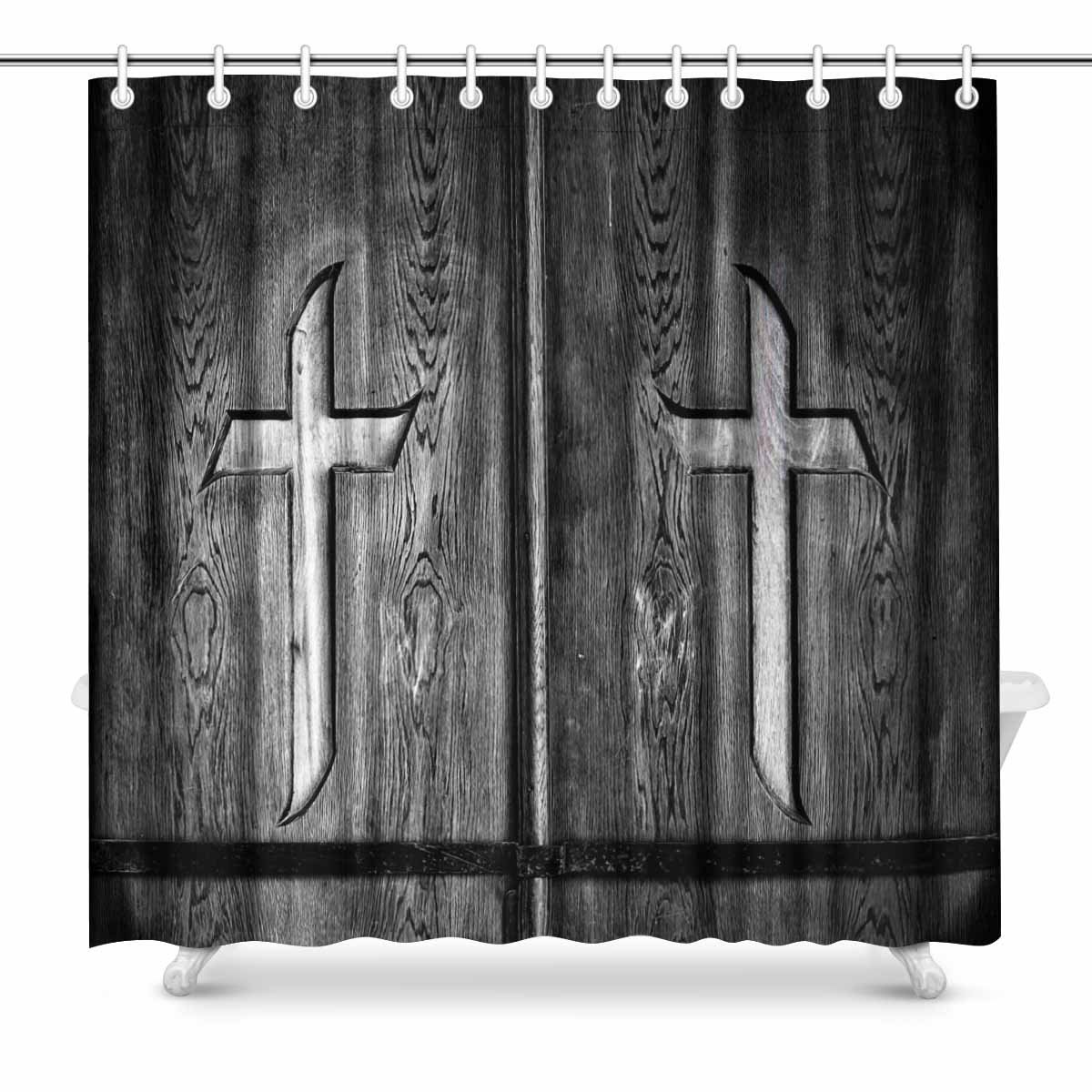 Us 16 42 55 Off Aplysia Wood Crosses On Old Church Door Fabric Bathroom Decor Shower Curtain Set With Hooks 72 Inches In Shower Curtains From Home