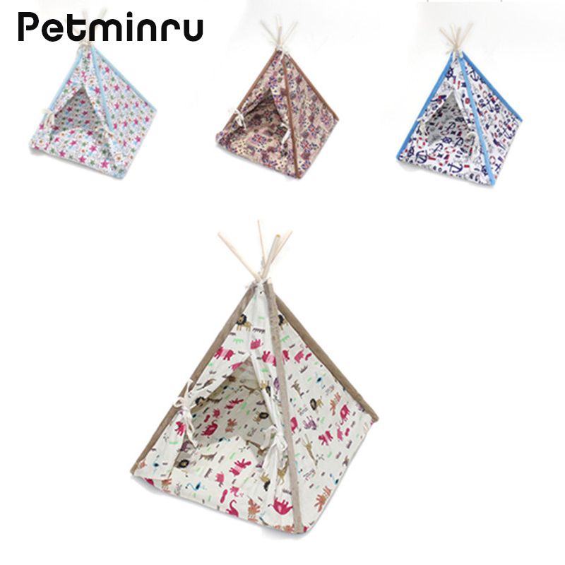 Petminru Detachable Wooden Pet Tent Dog house Foldable Pet House Kennel Cat Bed With Mats ...