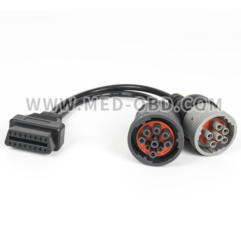 US $14.7 |Truck Y Cable OBD2 16pin to J1708 6pin/ J1939 9pin J1962F on