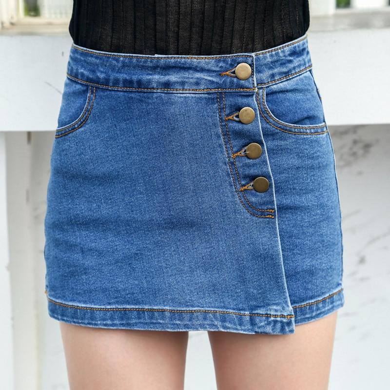 e9dacbb812 Pantalones Feminin Falda Nueva Corto Estilo Mujer Mujeres Slim Sexy Faldas  Cortos Vaqueros Denim De Skort Coreano Verano 2018 ...