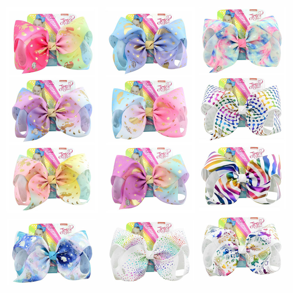 8 quot Rainbow Hair Bows With Clips For Girls Hair Clip for girls Colorful Hairpins Handmade Kids Hair Accessories in Hair Accessories from Mother amp Kids