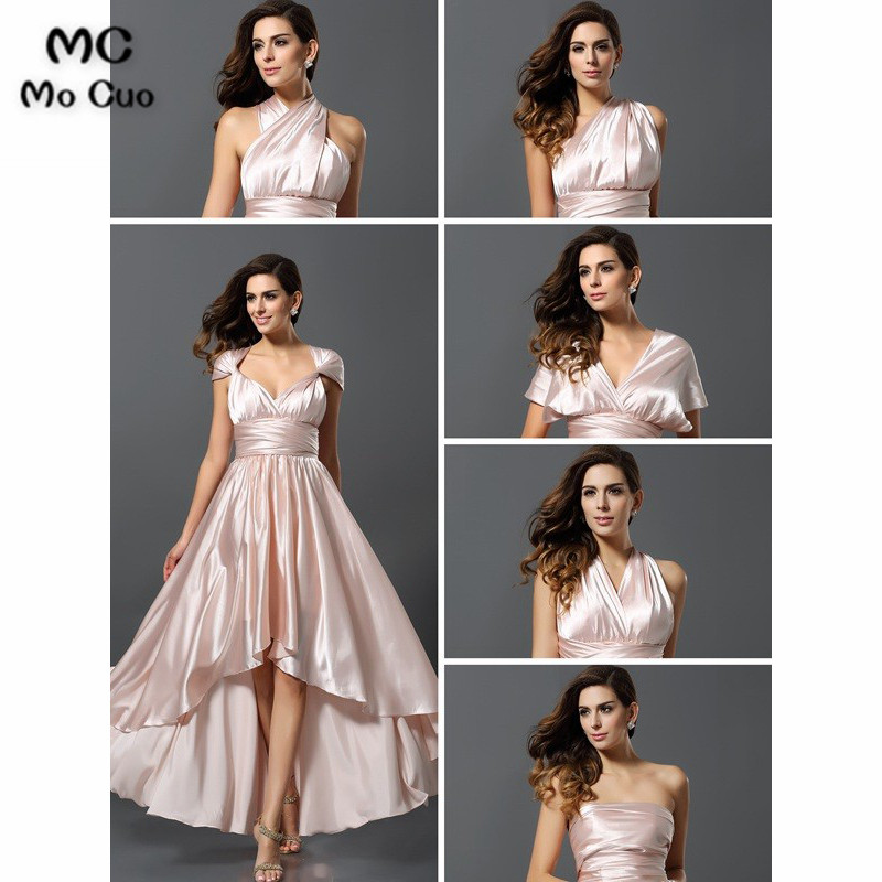 In Stock African 2019 High Low Gown Junior   Bridesmaid     Dresses   Long Cap Sleeves Shiny Satin Wedding Party   Dress     bridesmaid     dress