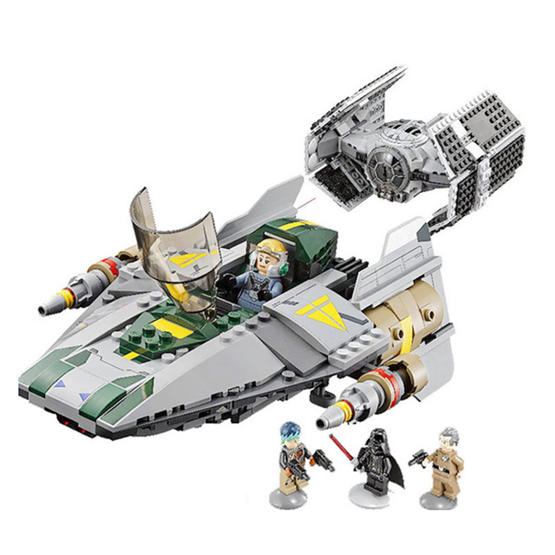 Lepin Star Wars 05030 Rebels Vader's TIE Advanced VS A Starfighter wing Blocks Toys Boy Gift Compatible With 75150 For Children [jkela]499pcs new star wars at dp building blocks toys gift rebels animated tv series compatible with legoingly starwars