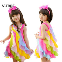 New Baby Girls Dress Summer Style Sleeveless Fancy Dress For Girls Party Beach Dress Baby Kids