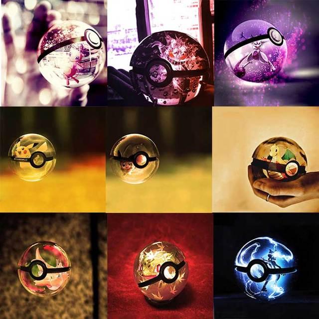 Sela design K9 Crystal Ball Pokemon Eevee inspired Laser crystal Engraved-LED rotating base changes color led toy night lamp