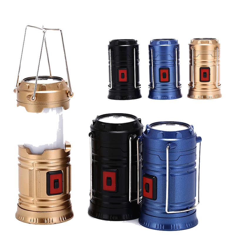 Hot Sale LED Camping Lantern Flashlights Collapsible Solar Tent Light Gear Accessories Equipment For Outdoor Hiking Emergencies