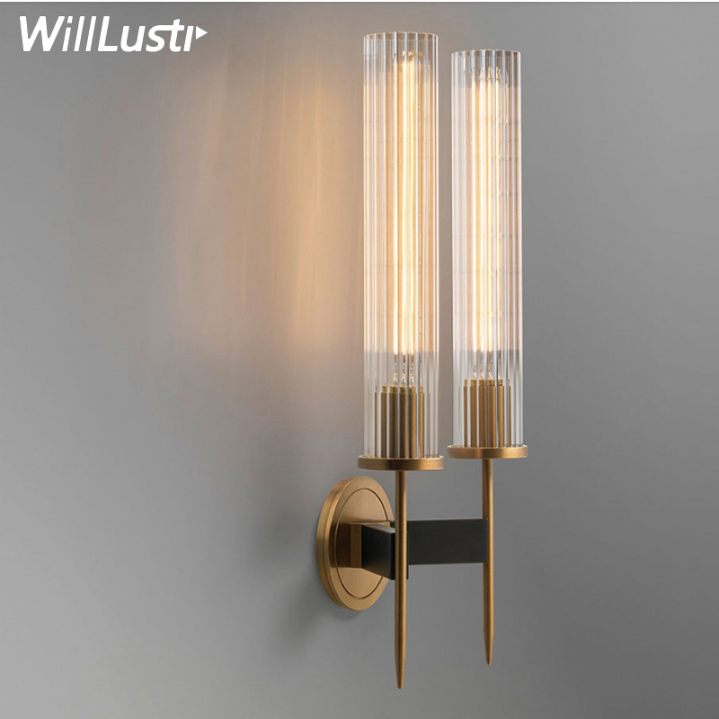 Image 3 - Modern Brass Wall Lamp Sconce Ribbed Long Glass Vintage Retro Copper Hotel Restaurant Loft Bar Bedroom Bedside Vanity Wall Light-in LED Indoor Wall Lamps from Lights & Lighting