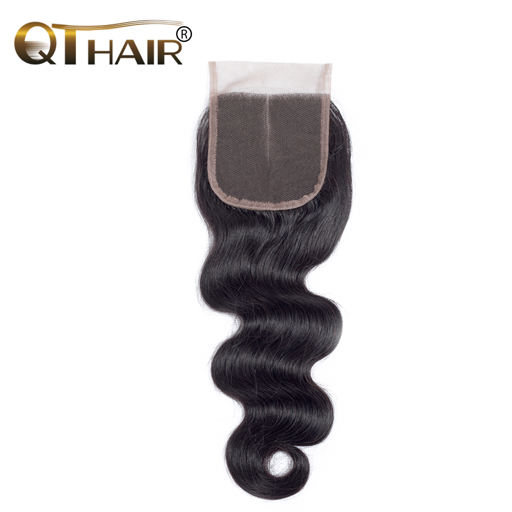 QThair 4 4 Middle Part Malaysian Body Wave Lace Closure 120 Density Remy font b Human