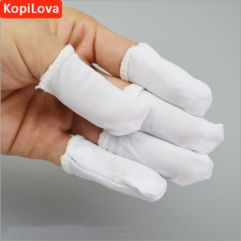 KopiLova 100pcs/pack White Polyeste Finger Cots Anti-slip Antistatic Fingertips for Finger Protection Free Shipping