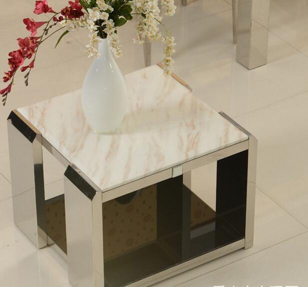 Several stainless steel angle stainless steel angle a few marble coffee table marble glass