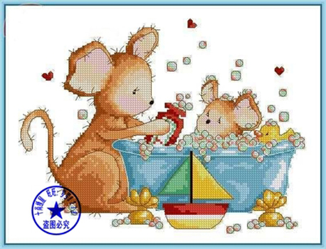 Needlework,DIY Cross Stitch,Sets For Embroidery kits,11CT&14CT,Take a shower of rats