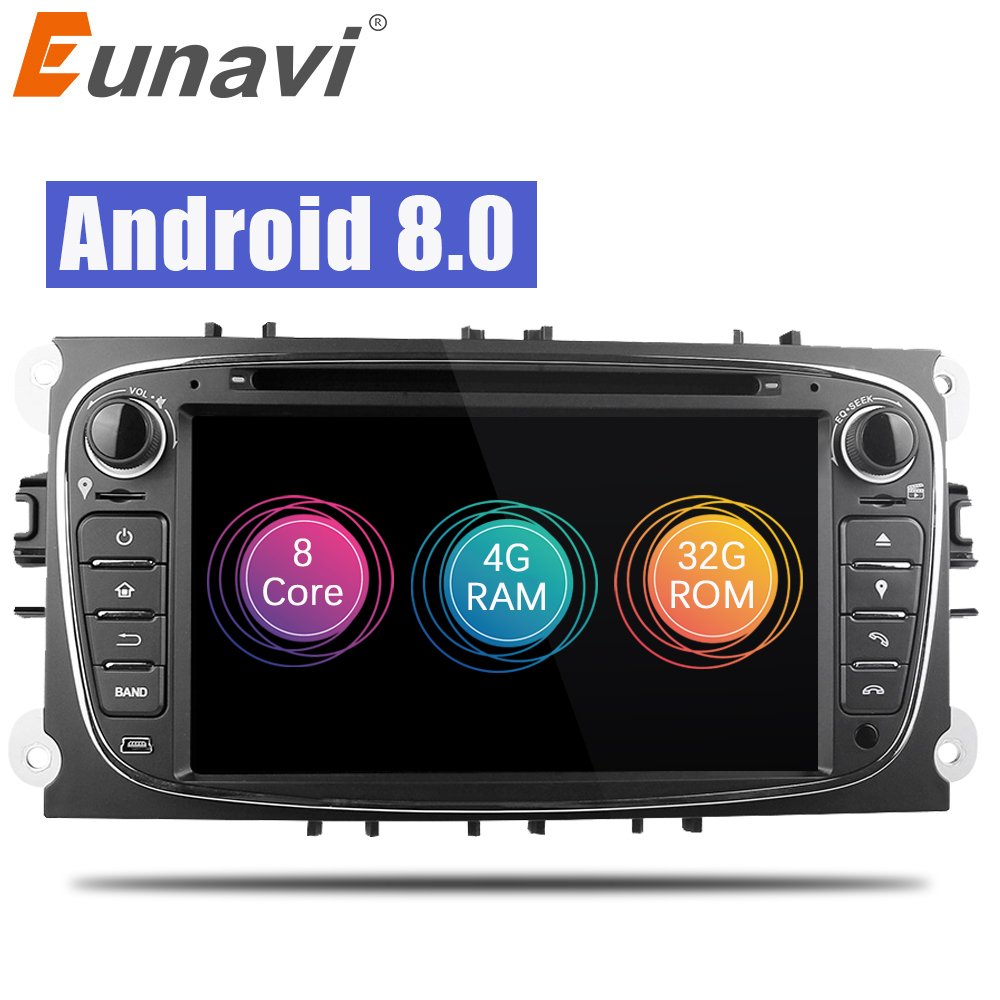Eunavi 2 Din 7 Android 8.0 Octa Core Car DVD Player DAB+WiFi 4G Canbus Online Maps GPS Navigator for Ford Focus II Mondeo S-Max