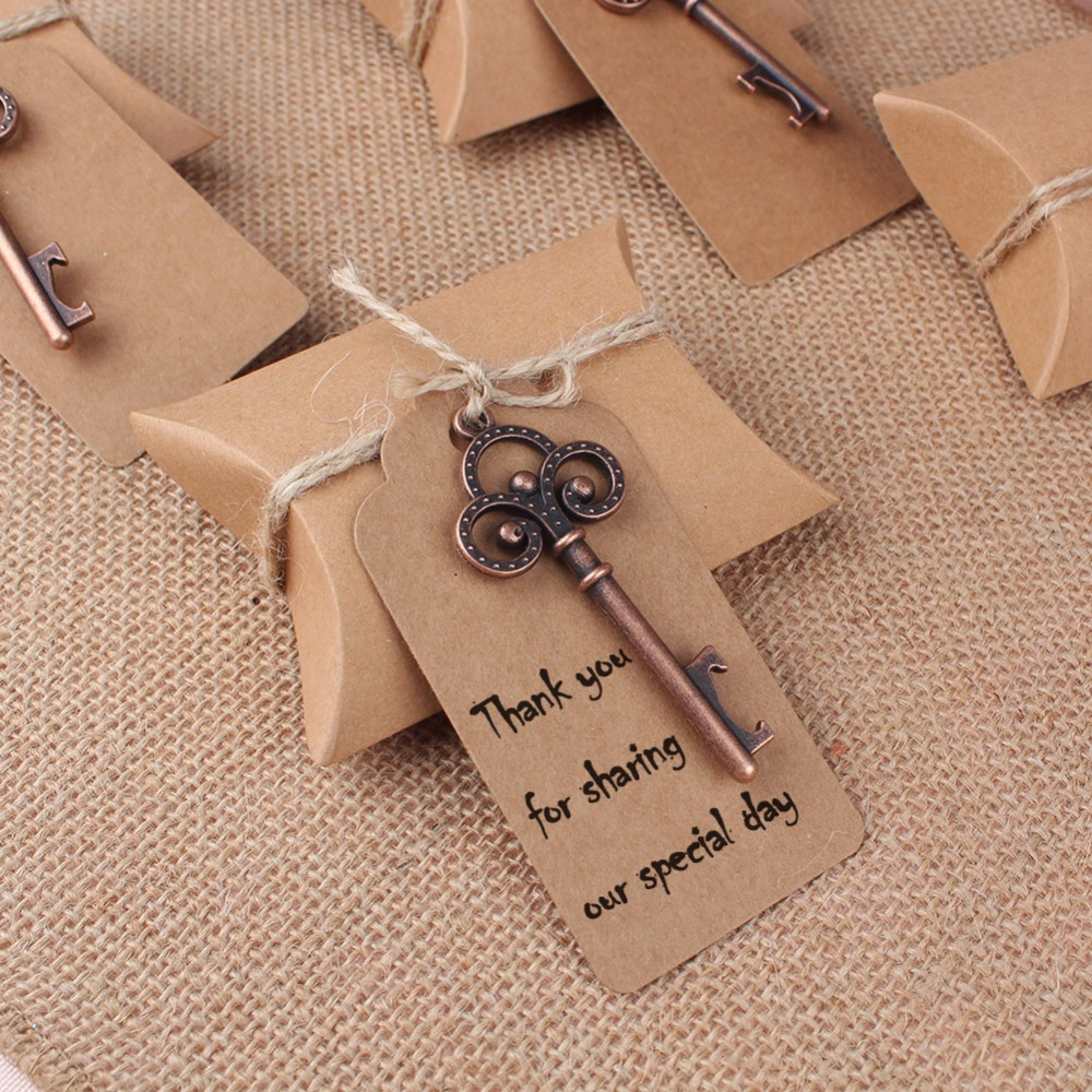 OurWarm 10Pcs Kraft Candy Box with Key Bottle Opener Tag Card Nature Jute Twine Wedding Favors Party Gifts Event Party Supplies