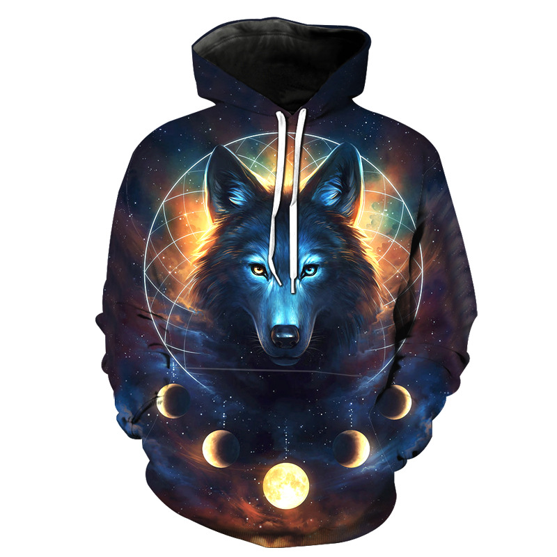3D space silver wolf men's hoodie new autumn and winter fashion trend young men and women hooded sweatshirt Casual pullover