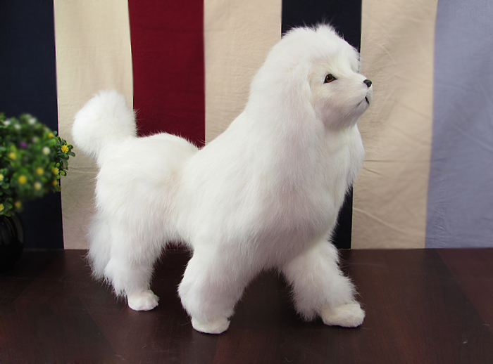simulation dog poodle toy model standing pose 37x12x26cm, plastic&fur white poodle handicraft,home decoration toy gift w5870 artificial resin grey poodle dog figure car styling home room decoration collection article christmas birthday gift toy