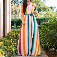 Rainbow Stripe Long Dress Women 2019 New Arrival Stylish African Ladies Summer Plus Size Casual Robe Vintage Shirt Maxi Dresses