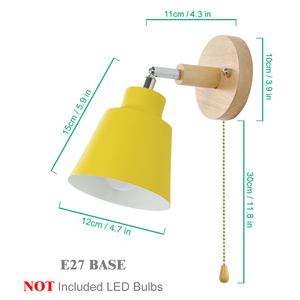 Image 5 - Nordic  indoor  wooden wall lamp bedsideE27 sconce wall light for bedroom corridor 4 color with zip switch Freely rotatable