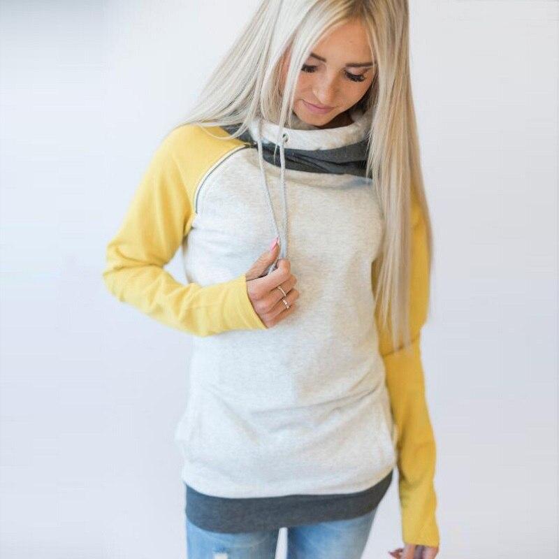 elsvios 2017 double hood hoodies sweatshirt women autumn long sleeve side zipper hooded casual patchwork hoodies pullover femme ELSVIOS 2017  hoodies, Autumn Long Sleeve HTB1e2Yhh