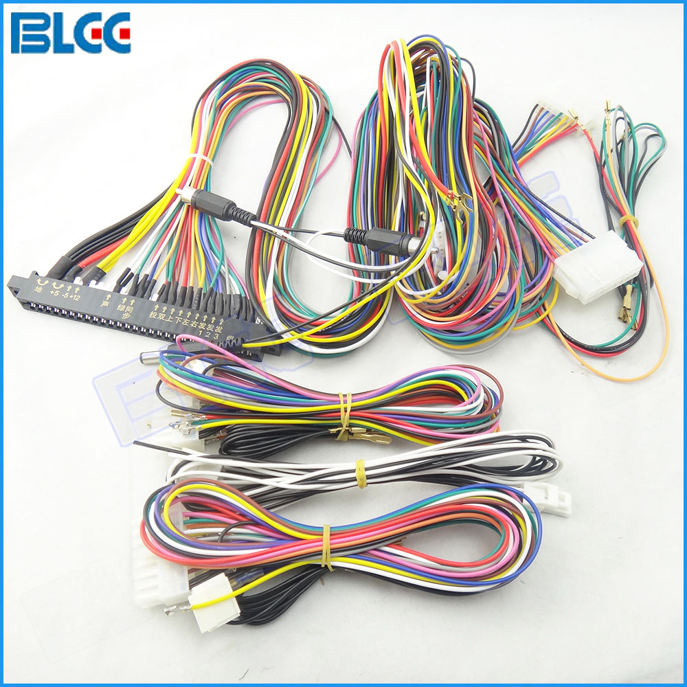 1pcs 28pin Jamma Harness With 6 8 Buttons Wires For Arcade Games Pcb Wiring Power Supply Output Lcd Game Machine Accessory In Coin Operated From Sports