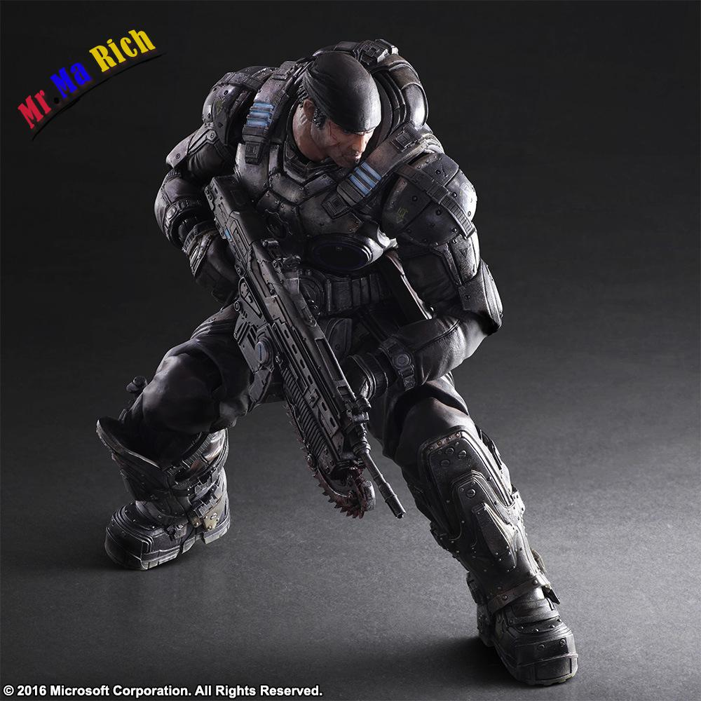 Play Arts Kai Gears Of War Marcus Fenix Pvc Action Figure Collectible Model Toys Doll 27cm майка классическая printio gears of war 2