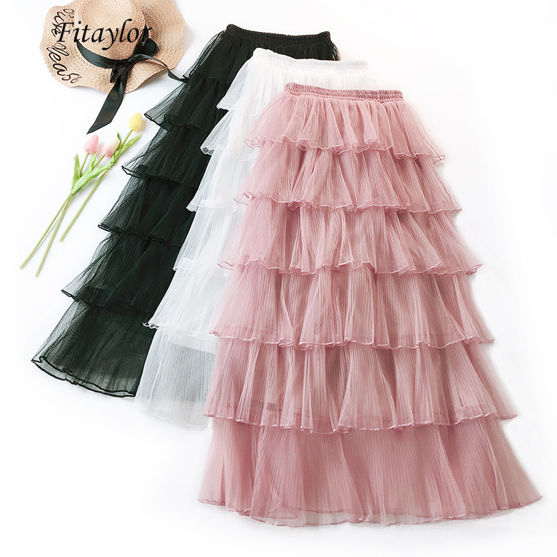 Fitaylor Tulle Skirt Women Summer Sweet Cake Layered Long Mesh Skirt High Waist Black Pink Female Mid-calf Skirts