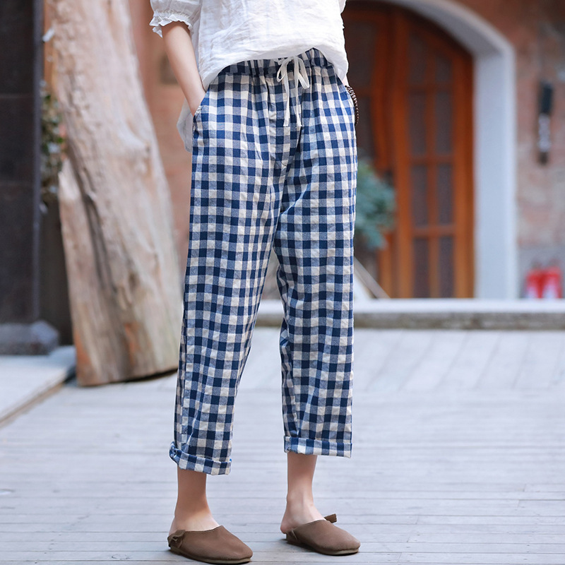 New Plaid Style Cotton Linen Belt Women Pants Spring Summer Casual Ankle Length Women Plaid Pants