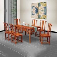 Hedgehog rosewood ตารางชุด 6 เก้าอี้ไม้เก้าอี้โต๊ะคลาสสิกไม้สีแดง Annatto ห้องรับประทานอาหารเฟอร์นิเจอร์ชุด|ชุดห้องรับประทานอาหาร|   -