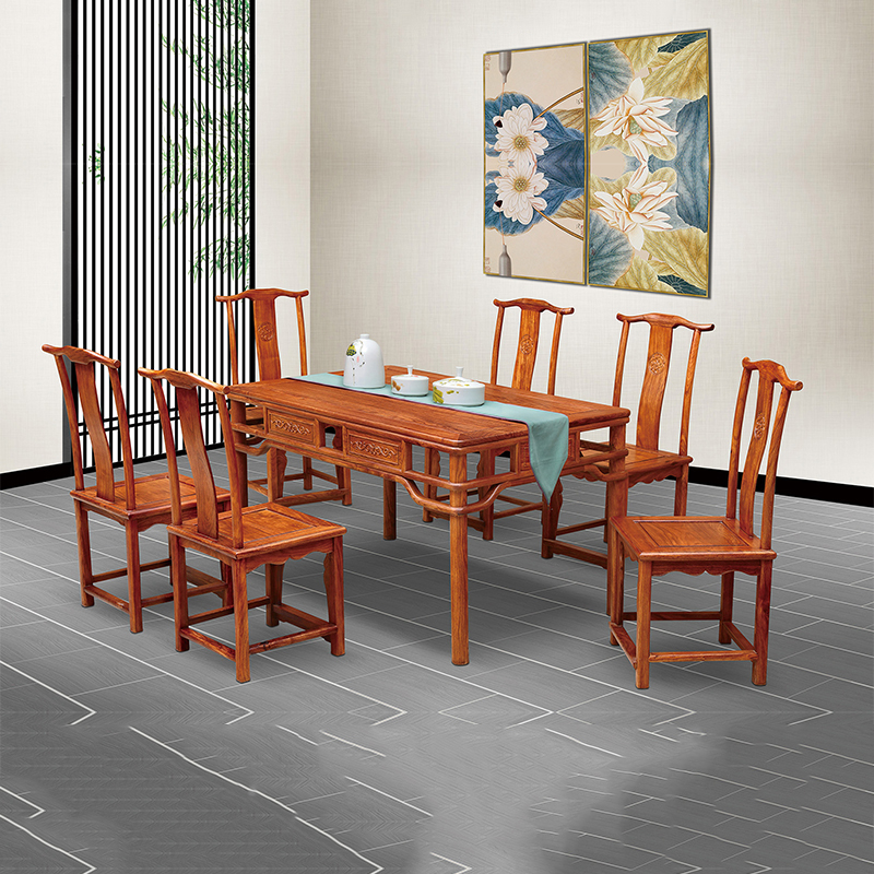 Hedgehog rosewood square Table Set 6 Chair Solid Wood Armchair Desk Classic Red wooden Annatto Dining Room Furniture set