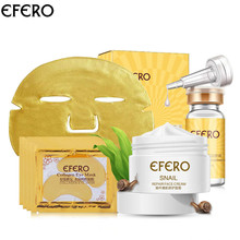 efero 8pcs/set Snail Essence Moisture Face Cream+Collagen Anti-wrinkle Eye Mask+Six Peptides Face Liquid Serum+Golden Face Mask