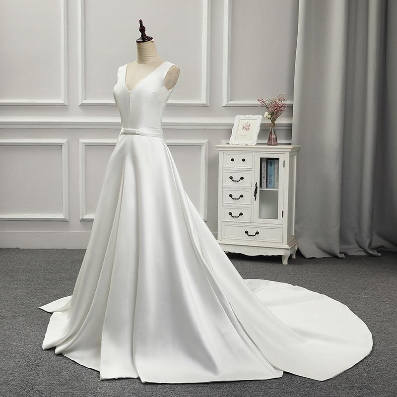 V-neck Lace Up Back Satin Elegant Wedding Dress