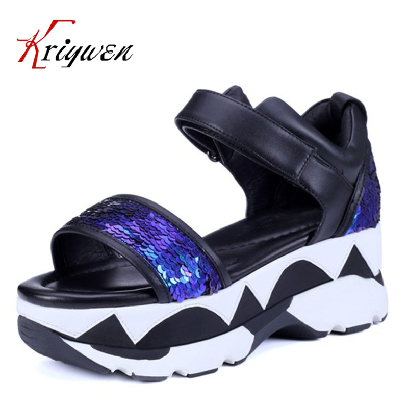 2016 Summer Fashion Sexy glitter cowhide Sequined Cloth Thck High Heels Shoes women bling party wedding thick soles lady sandals phyanic bling glitter high heels 2017 silver wedding shoes woman summer platform women sandals sexy casual pumps phy4901