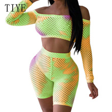 TIYE Casual Two Pieces Sets Crop Top and Slim Pants Sexy Off Shoulder Long Sleeve Grid Playsuits New Fashion Tie-dyed Jumpsuits