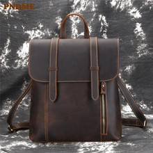 PNDME high quality crazy horse leather men's backpack vintage simple outdoor large capacity genuine leather student schoolbag