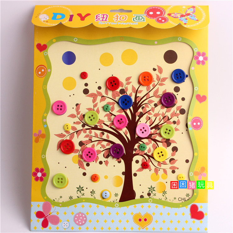 5pcs Lot 1823cm DIY Button To Craft Painting Kids Creative Sticky Art Educational Handmade Toys 3 Years On Aliexpress