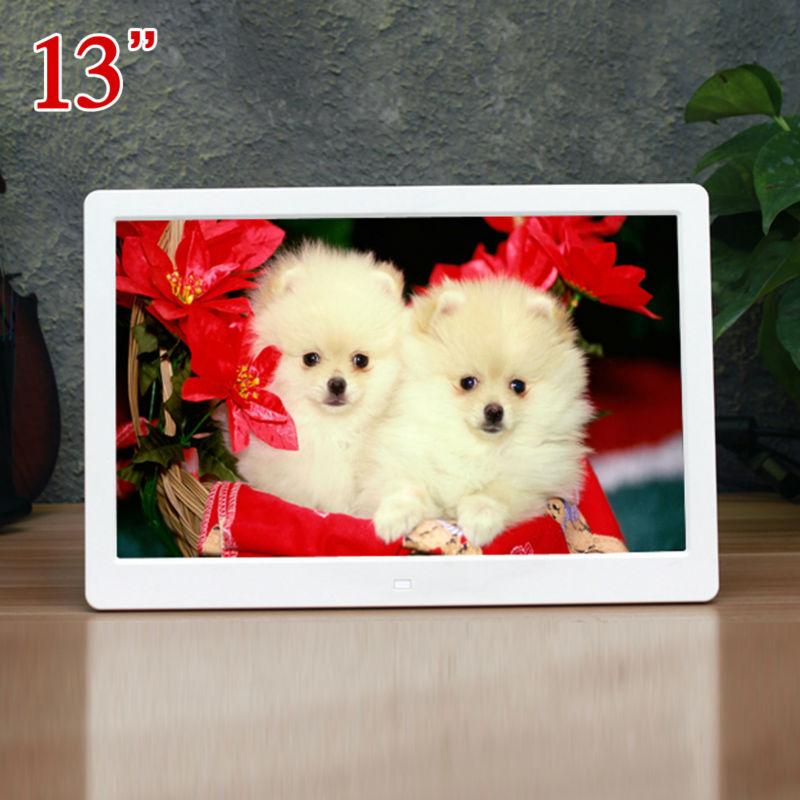 13inch HD 16:9 Digital Photo Frame 13 Picture Alarm Clock MP3 MP4 Video Movie Player Ebook Remote Control for Ads Signs Menu