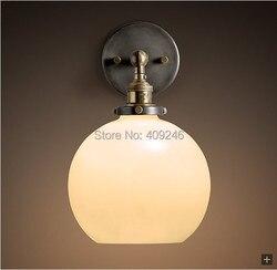 Vintage Edison Loft szkło mosiężne kinkiet mleko białe szklane światło ścienne Cafe Bar kawiarnia sypialnia lampki nocne klub hala oświetlenie|wall light|glass wall lightswall lamp -