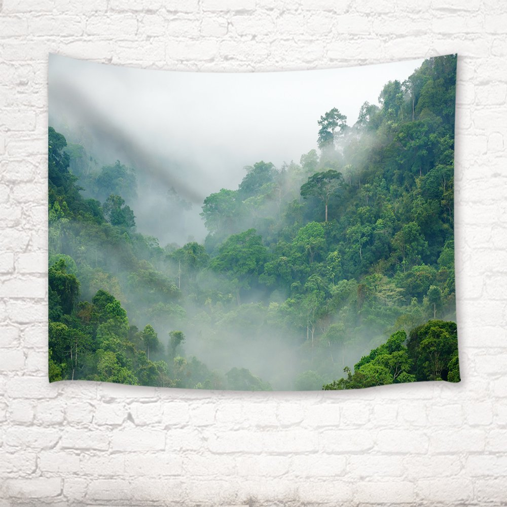 Misty Forest Tapestry Wall Hanging For Bedroom Living Room Dorm 71 X 60 Inches