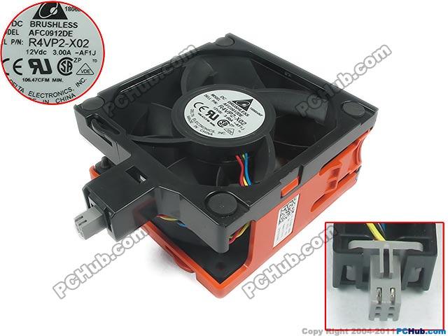 Delta AFC0912DE, R4VP2-X02 DC 12V 3.0A 6-pin Server Square fan