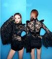 Nova Boate Figurinos Para Os Cantores de Jazz Trajes de Dança Collant Rendas Beyonce Traje Cantora Sexy Outfit