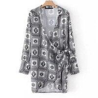 BLSQR Vintage Kadınlar Baskılı kimono Elbise Yeni 2018 Seksi Crossover Kravat Bel Uzun Kollu Casual Mini Elbise Yaz Kısa vestido