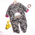 Cute Zebra Super Fleece Girls Romper Body Baby Overalls for Toddler Jumpsuit 2014 New Born Autumn Bebe Clothing Infant Clothes