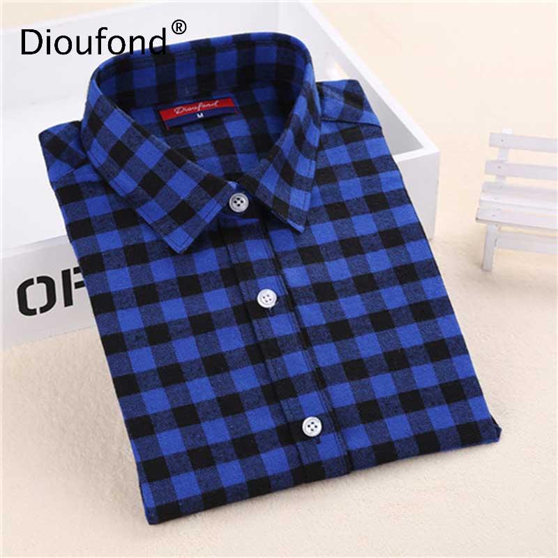 Dioufond Flannel Plaid Shirt Női ingek Blúzok Hosszú ujjú Plaid blúz Célos fordulógalléros ruha Női felsőrész divat