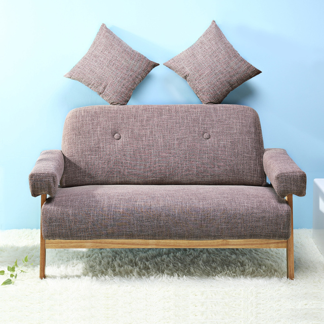 mid century modern colorful linen fabric sofa couch loveseat dark greyblue color living room